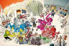 Schwarwel Glücklicher Montag Illustration Funkturm Bundestag Parteien