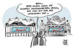 """VW-Beschluss vor AFD-Parteitag: Schriftzug """"Volkswagen Halle"""" wird bei AfD-Parteitag abgedeckt"""