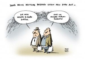 Euro Krise Einkommen D Mark zurck Karikatur Schwarwel