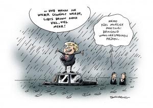 Wahl Versprechen Kindergeld Rente Merkel Karikatur Schwarwel