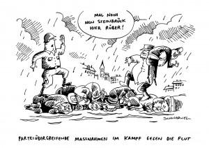 Hochwasser in Deutschland Karikatur Schwarwel