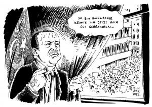 Weiter Proteste gegen Erdogan und seine Regierungspolitik Karikatur Schwarwel