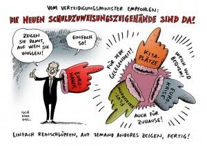 Drohnendebakel: Verteidugungsminister De Maizière sieht bei Euro-Hawk Fehler bei anderen Karikatur Schwarwel