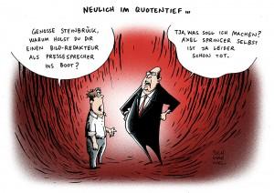 Nach Entlassung Donnermeyers: Steinbrück holt Bild-Journalisten als Sprecher karikatur schwarwel