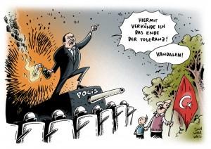 Türkischer Premier Erdogan verkündet das Ende der Toleranz und bezeichnet Demonstranten als Vandalen karikatur schwarwel