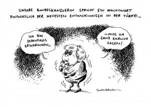 """Bundeskanzlerin Merkel äußert sich """"erschrocken"""" hnsichtlich der Gewalt in der Türkei karikatur schwarwel"""