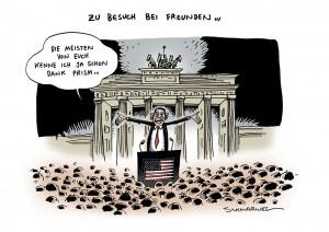 Obama-Besuch in Berlin überschattet von Prism-Affäre Karikatur Schwarwel