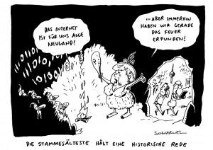 Fauxpas bei Obama-Besuch: Merkel bezeichnet Internet Dutzende Jahre nach Einführung als Neuland Karikatur Schwarwel