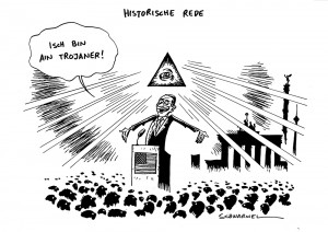 obama in berlin merkel historische rede karikatur schwarwel