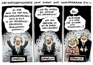 Wahlprogramm: CDU-Wirtschaftsflügel glaubt nicht an Merkels Versprechen Karikatur Schwarwel