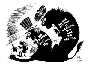 Britisches Spionage-System Tempora greift auf mehr private Daten zu als US-System Prism Karikatur Schwarwel