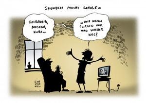 Whistleblower Snowden Flucht US Regierung Karikatur Schwarwel
