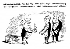 karikatur schwarwel merkel CDU CSU Wahlprogramm Snowden Sicherheitskopien