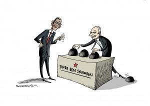 Verwirrspiel um Whistleblower Snowden Karikatur Schwarwel