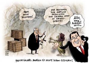 Krise im Irak: Sigmar Gabriel schließt Waffenlieferungen nicht mehr aus - Karikatur Schwarwel