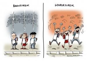 Warnstreiks:  Lehrer wollen Arbeit niederlegen - Karikatur Schwarwel