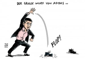 Adidas: Vorstand stellt Geschäftsplan für kommende Jahre vor - Karikatur Schwarwel