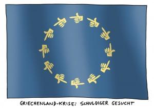 Griechenland-Krise: Politik schiebt den Schwarzen Peter hin und her - Karikatur Schwarwel