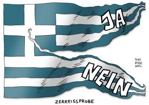 Griechenland-Krise: Sonntags-Referendum teilt Land und Menschen - Karikatur Schwarwel