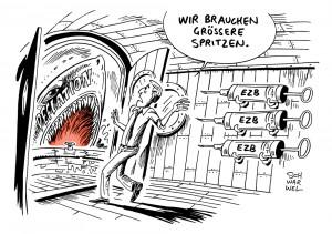 Verbraucherpreise: Inflationsrate im September auf Null, Deflation in Eurozone droht - Karikatur Schwarwel