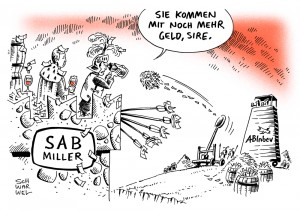 Bier: SABMiller wehrt sich gegen Übernahmeavancen von ABInbev - Karikatur Schwarwel