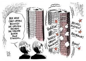 deutsche bank neuer chef john cryan verlusterwartung verlust einschneidende änderungen karikatur schwarwel