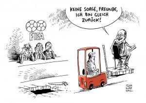 FIFA: Blatter tut sich schwer mit dem Abgang - Karikatur Schwarwel