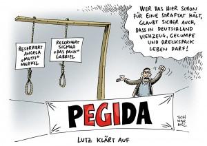 PEGIDA in Dresden: Staatsanwaltschaft ermittelt wegen PEGIDA-Galgen bei Demo - Karikatur Schwarwel