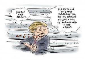 Flüchtlingskrise: Aufstand in Fraktion, Ärger mit CSU, bockiger Koalitionspartner - einige sehen Kanzlerin in erster große Krise - Karikatur Schwarwel
