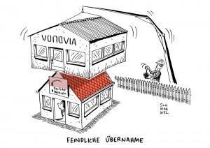 Feindliche Übernahme: Vonovia will Deutsche Wohnen schlucken und die Anleger entscheiden lassen - Karikatur Schwarwel