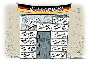 Bundestag verabschiedet Asylpaket: Perspektive für Flüchtlinge fehlt - Karikatur Schwarwel