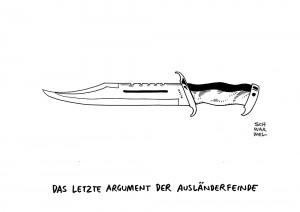 Angriff auf Henriette Reker: Kölner Attentäter ist voll schuldfähig - Karikatur Schwarwel