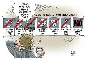 Feindbild: Anschlag von Köln zeigt, wie weit sich Einzelne radikalisieren können - Karikatur Schwarwel