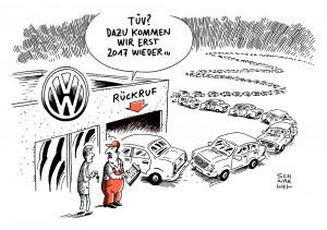 Abgas-Skandal und VW-Rückruf:  Auf jede Werkstatt warten rund 1100 Autos - Karikatur Schwarwel