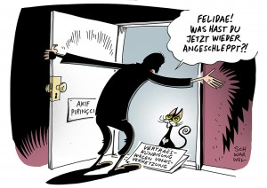 Nach Pegida-Rede: Bertelsmann-Verlage kündigen Verträge mit Akif Pirinçci _ Karikatur Schwarwel