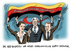 CSU-Chef Horst Seehofer in Flüchtlingskrise: Knappe Mehrheit der CDU/CSU-Anhänger hält Seehofers Politik in der Flüchtlingskrise für schlecht, vor allem 97 % AfD-Anhänger unterstützen seinen Kurs - Karikatur Schwarwel