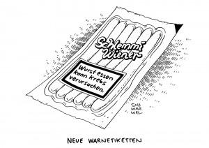Ernährung: WHO-Experten stufen Wurst als krebserregend ein - Karikatur Schwarwel