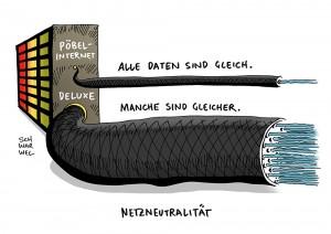 Netzneutralität: EU-Parlament beschließt umstrittene Internet-Regeln - Karikatur Schwarwel