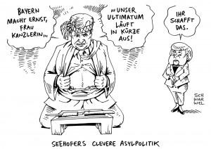 Asylpolitik und Flüchtlingskrise: Horst Seehofer droht Angela Merkel - aber womit? - Karikatur Schwarwel