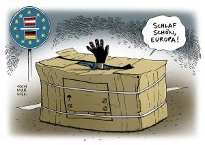 Situation an der österreichisch-deutschen Grenze: Erstaufnahme im Pappkarton - Karikatur Schwarwel