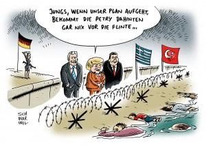 Deutsche Flüchtlingspolitik: CDU, CSU und SPD wollen Probleme an Europas Außengrenze verschieben
