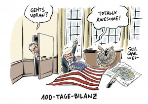 US-Präsident Trump: 100 Tage Achterbahnfahrt