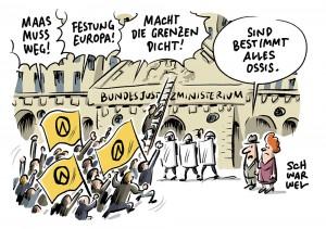 """""""Maas muss weg! Festung Europa! Macht die Grenzen dicht!"""": Identitäre Bewegung versucht in Berlin, Bundesjustizministerium zu stürmen"""