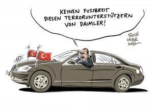 Angebliche Gülen-Unterstützer: Mercedes-Fahrer Erdogan stellt Daimler an Terror-Pranger; Bundesregierung reagiert auf Erdogan: Nauausrichtung der Türkeipolitik