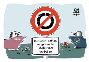 Hilfsorganisationen stoppen Einsätze im Mittelmeer: Libysche Küstenwache richtet eigene Rettungszone ein - verbunden mit Drohung gegen Flüchtlingsretter