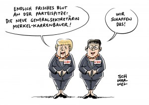 Merkel baut ihre CDU-Spitze aus: Annegret Kramp-Karrenbauer als Kandidatin für den Generalsekretärsposten