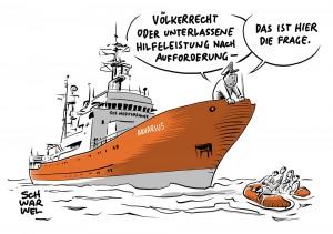 """Völkerrecht gegen Seerecht: Rettungsschiff """"Aquarius"""" sticht im Mittelmeer in See"""