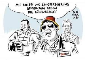 Pressefreiheit in Sachsen: Pegidisten als Hilfspolizei gegen ZDF-Team, Ministerpräsident steht hinter Polizei