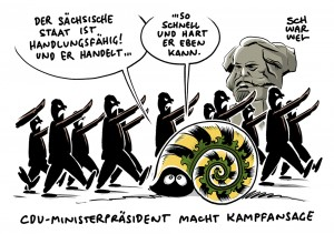 """Ministerpräsident Kretschmer zu Chemnitzer Nazi-Aufmarsch: """"Der sächsische Staat ist handlungsfähig. Und er handelt."""""""