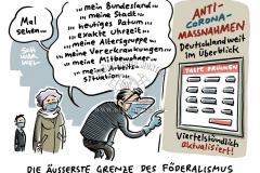 Corona-Pandemie in Deutschland:  Bundesländer mit z. T. sehr unterschiedlichen Maßnahmen